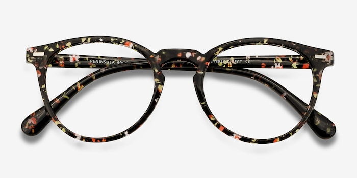 Peninsula Red Floral Plastic Eyeglass Frames from EyeBuyDirect, Closed View