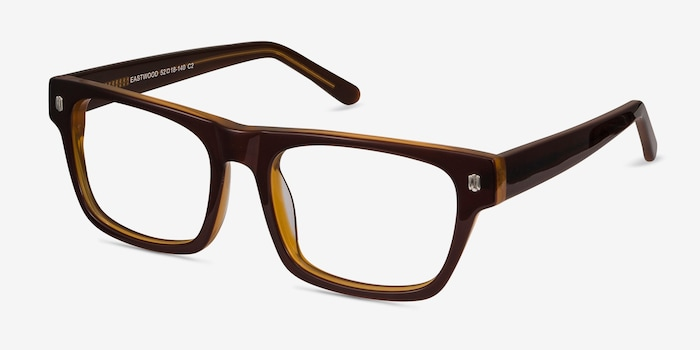 Eastwood Brown Acetate Eyeglass Frames from EyeBuyDirect, Angle View