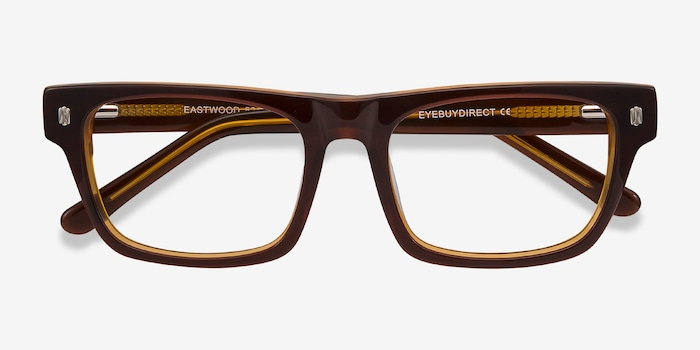 Eastwood Brown Acetate Eyeglass Frames from EyeBuyDirect, Closed View