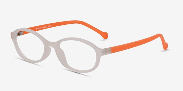 Skipper Matte Clear Plastic Eyeglass Frames from EyeBuyDirect, Angle View