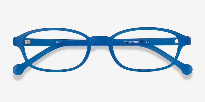 Sprint Blue Plastic Eyeglass Frames from EyeBuyDirect, Closed View