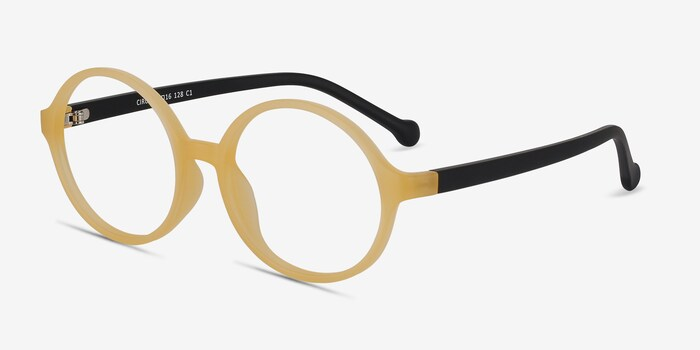 Circo Yellow Plastic Eyeglass Frames from EyeBuyDirect, Angle View