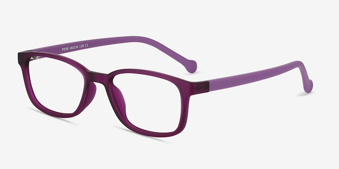 Posie Purple Plastic Eyeglass Frames from EyeBuyDirect, Angle View