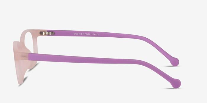 Bound Pink Plastic Eyeglass Frames from EyeBuyDirect, Side View