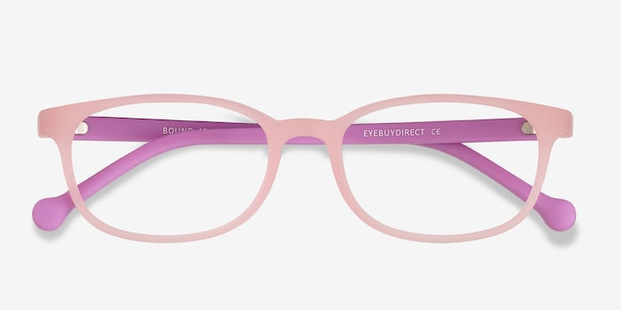 Bound Pink Plastic Eyeglass Frames from EyeBuyDirect, Closed View