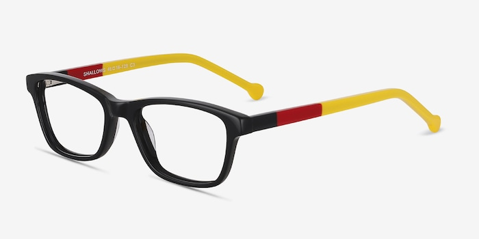 Shallows Black Acetate Eyeglass Frames from EyeBuyDirect, Angle View
