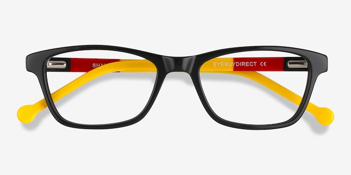 Shallows Black Acetate Eyeglass Frames from EyeBuyDirect, Closed View