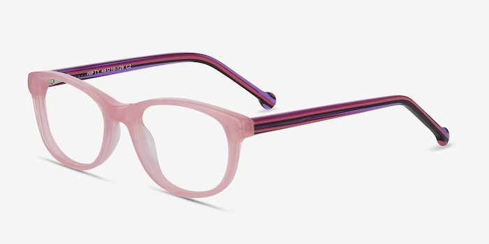 Nifty Pink Acetate Eyeglass Frames from EyeBuyDirect, Angle View