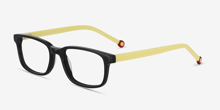 Totes Black Acetate Eyeglass Frames from EyeBuyDirect, Angle View