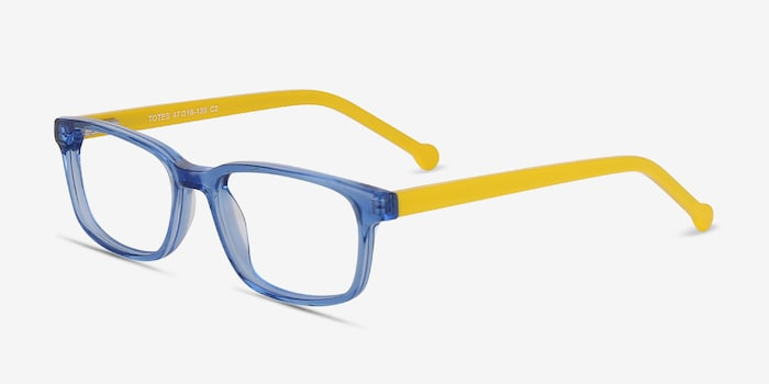 Totes Blue Clear Acetate Eyeglass Frames from EyeBuyDirect, Angle View