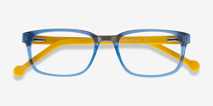 Totes Blue Clear Acetate Eyeglass Frames from EyeBuyDirect, Closed View