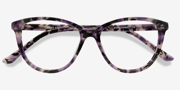 Lancet Purple Floral Acetate Eyeglass Frames from EyeBuyDirect, Closed View