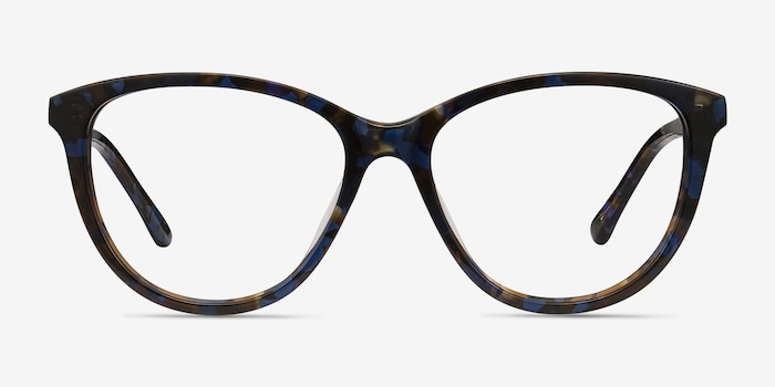 Lancet Blue Floral Acetate Eyeglass Frames from EyeBuyDirect, Front View