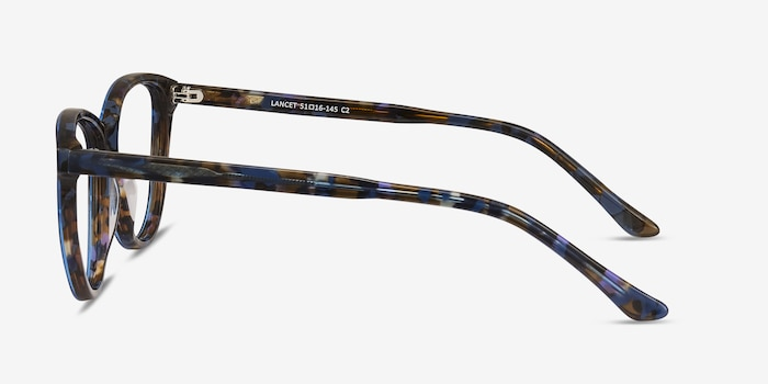 Lancet Blue Floral Acetate Eyeglass Frames from EyeBuyDirect, Side View