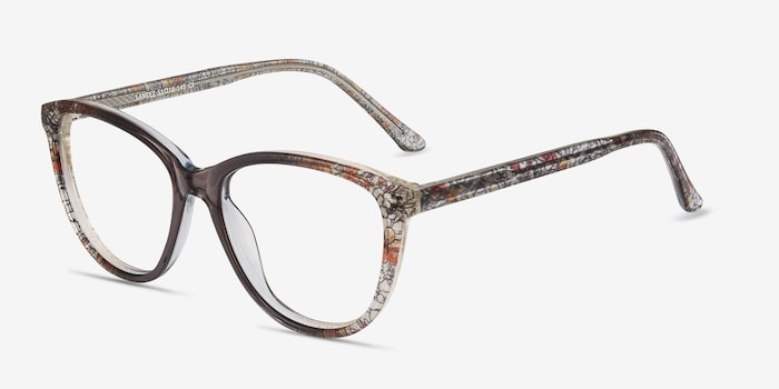 Lancet Clear Floral Acetate Eyeglass Frames from EyeBuyDirect, Angle View