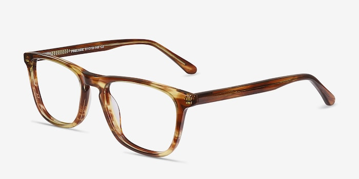 Prelude Brown Striped Acetate Eyeglass Frames from EyeBuyDirect, Angle View