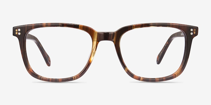 Kent Brown Striped Acétate Montures de Lunettes d'EyeBuyDirect, Vue de Face