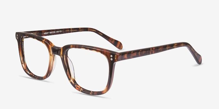 Kent Brown Striped Acétate Montures de Lunettes d'EyeBuyDirect, Vue d'Angle