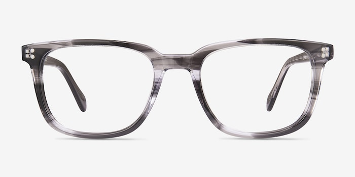 Kent Gray Striped Acetate Eyeglass Frames from EyeBuyDirect, Front View