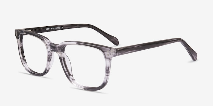 Kent Gray Striped Acetate Eyeglass Frames from EyeBuyDirect, Angle View