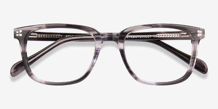 Kent Gray Striped Acétate Montures de Lunettes d'EyeBuyDirect, Vue Rapprochée