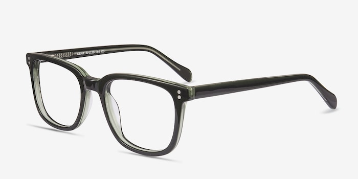 Kent Green Acetate Eyeglass Frames from EyeBuyDirect, Angle View