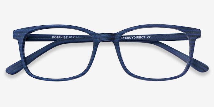 Botanist Navy Striped Acetate Eyeglass Frames from EyeBuyDirect, Closed View