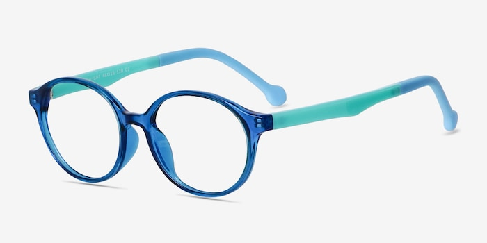 Daylight Clear Blue Plastic Eyeglass Frames from EyeBuyDirect, Angle View