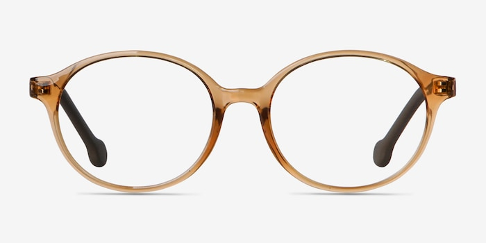 Daylight Clear Brown Plastic Eyeglass Frames from EyeBuyDirect, Front View