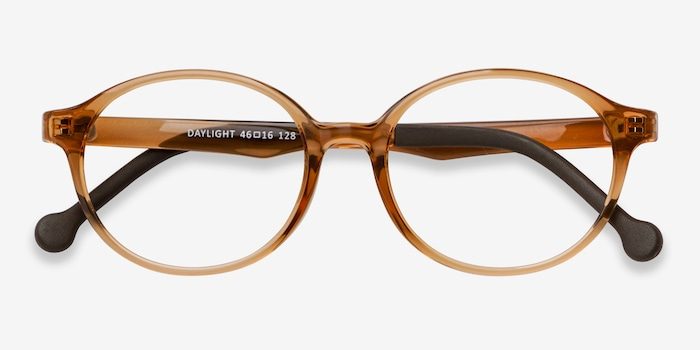 Daylight Clear Brown Plastic Eyeglass Frames from EyeBuyDirect, Closed View