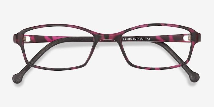 Glitch Tortoise Purple Plastic Eyeglass Frames from EyeBuyDirect, Closed View