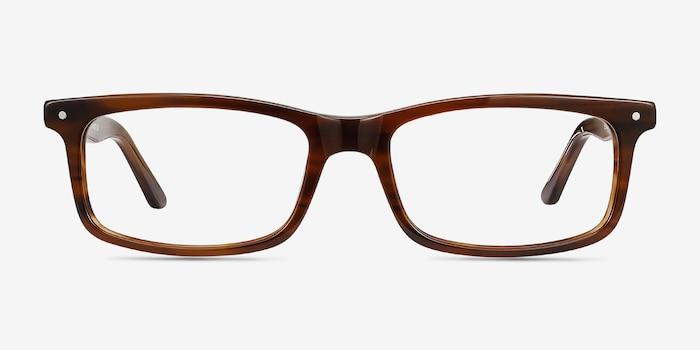 Mandi Brown Striped Acétate Montures de Lunettes d'EyeBuyDirect, Vue de Face