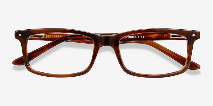 Mandi Brown Striped Acetate Eyeglass Frames from EyeBuyDirect, Closed View