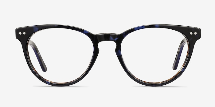 Notting Hill Blue Floral Acetate Eyeglass Frames from EyeBuyDirect, Front View