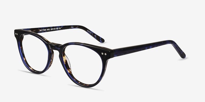 Notting Hill Blue Floral Acetate Eyeglass Frames from EyeBuyDirect, Angle View