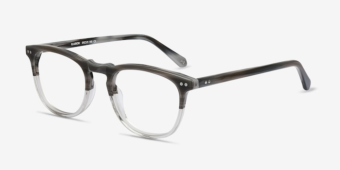 Illusion Striped Clear Acetate Eyeglass Frames from EyeBuyDirect, Angle View