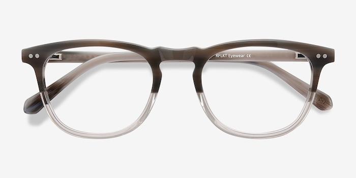 Illusion Striped Clear Acetate Eyeglass Frames from EyeBuyDirect, Closed View