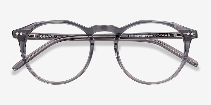 Planete Gray Clear  Acetate Eyeglass Frames from EyeBuyDirect, Closed View