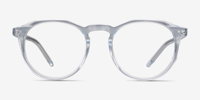 Planete Clear Blue Acetate Eyeglass Frames from EyeBuyDirect, Front View