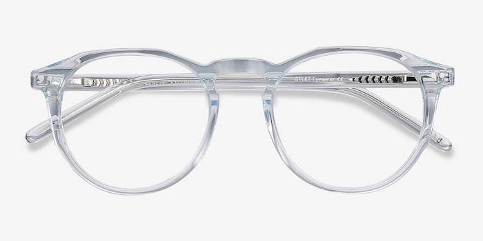 Planete Clear Blue Acetate Eyeglass Frames from EyeBuyDirect, Closed View