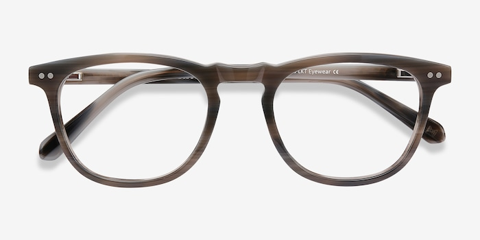 Illusion Gray Striped Acetate Eyeglass Frames from EyeBuyDirect, Closed View