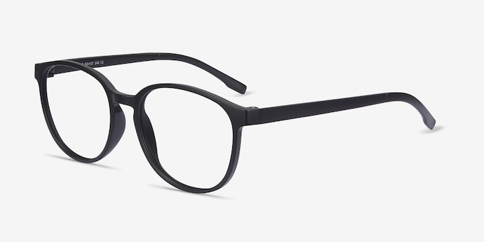 Shifter Black Plastic Eyeglass Frames from EyeBuyDirect, Angle View