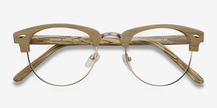 Esteban Yellow Wood-texture Eyeglass Frames from EyeBuyDirect, Closed View