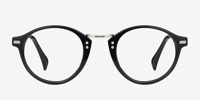 Shibuya Black Acetate Eyeglass Frames from EyeBuyDirect, Front View
