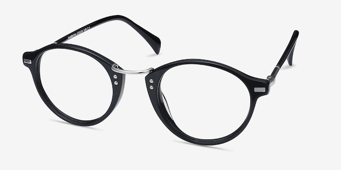Shibuya Black Acetate Eyeglass Frames from EyeBuyDirect, Angle View