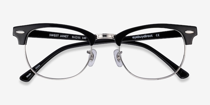 Sweet Janet Black Silver Acetate Eyeglass Frames from EyeBuyDirect, Closed View