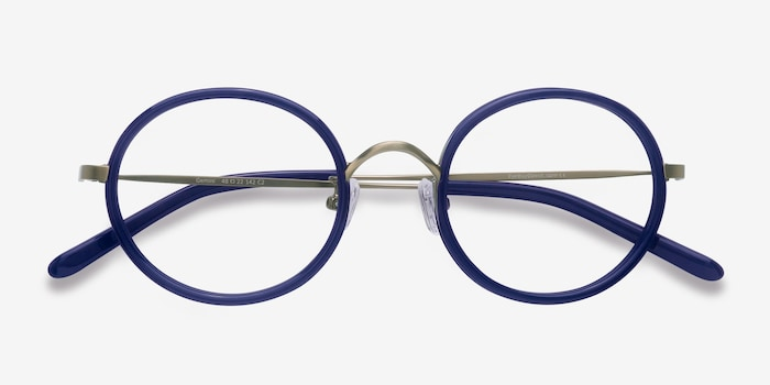 Gemini Bleu marine  Acétate Montures de Lunettes d'EyeBuyDirect, Vue Rapprochée