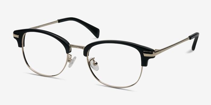 Kinjin Noir Acétate Montures de Lunettes d'EyeBuyDirect, Vue d'Angle