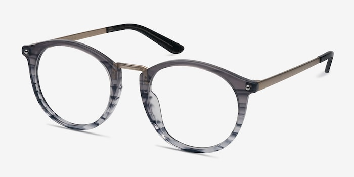 La Femme Gray Striped Acetate Eyeglass Frames from EyeBuyDirect, Angle View