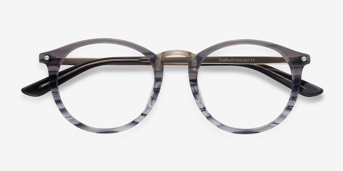 La Femme Gray Striped Acetate Eyeglass Frames from EyeBuyDirect, Closed View